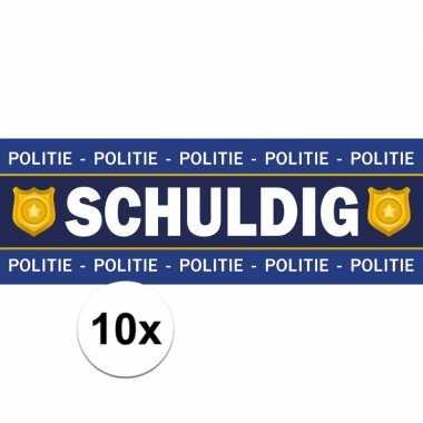 10 x schuldig stickers voor politie/agent verkleedkleding