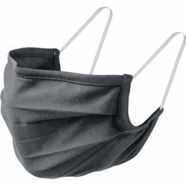 1x grijze mondkapjes van stof herbruikbaar