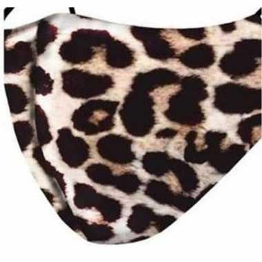 1x mondkapjes met panter print van stof herbruikbaar