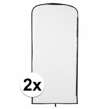 2x verkleedkleding opberghoes transparant 95 x 42 cm
