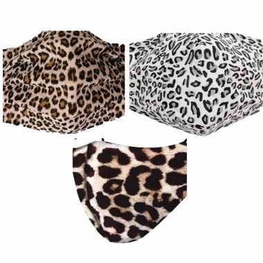 3x mondkapjes met dierenprint van stof herbruikbaar