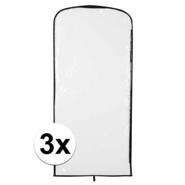3x verkleedkleding opberghoes transparant 95 x 42 cm