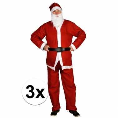 3x voordelige santa run kerstman verkleedkleding voor volwassenen