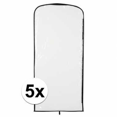 5x verkleedkleding opberghoes transparant 95 x 42 cm