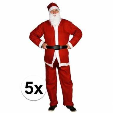 5x voordelige santa run kerstman verkleedkleding voor volwassenen