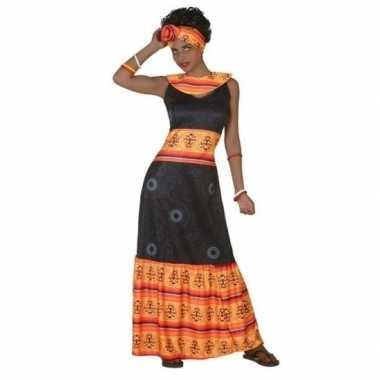 Afrikaanse jurk verkleed verkleedkleding zwart/oranje voor dames
