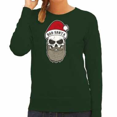 Bad santa foute kerstsweater / verkleedkleding groen voor dames