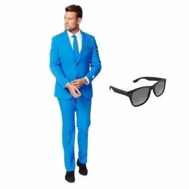 Blauw heren verkleedkleding maat 58 (4xl) met gratis zonnebril