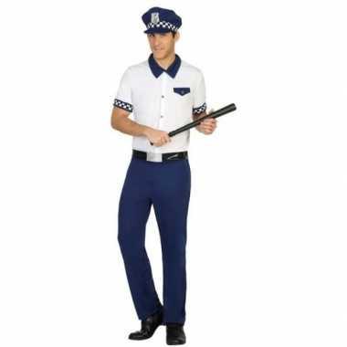 Blauw/wit politie verkleed pak/verkleedkleding voor heren