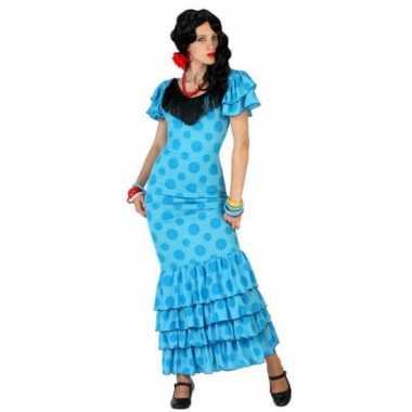 Blauwe spaanse verkleedkleding jurk
