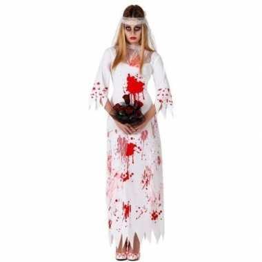 Bloederige zombie/spook bruid verkleed verkleedkleding voor dames