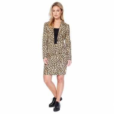 Bruin dames verkleedkleding met luipaard print