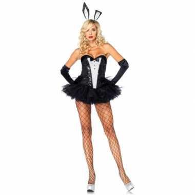 Bunny verkleedkleding zwart wit voor dames