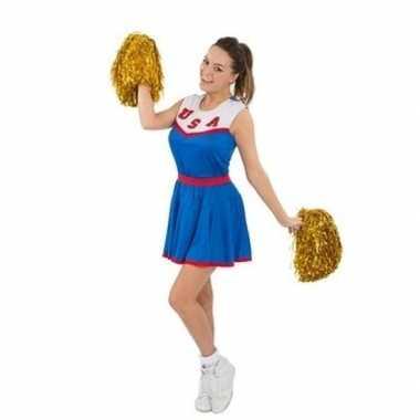 Cheerleaders verkleedkleding met pom poms voor dames