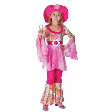 Complete roze hippie verkleedkleding voor meiden