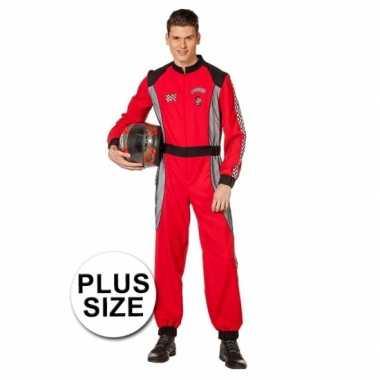 Coureur verkleedkleding rood voor heren grote maat
