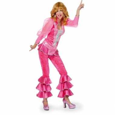 Dames disco verkleedkleding roze/zilver