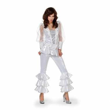 Dames disco verkleedkleding wit/zilver