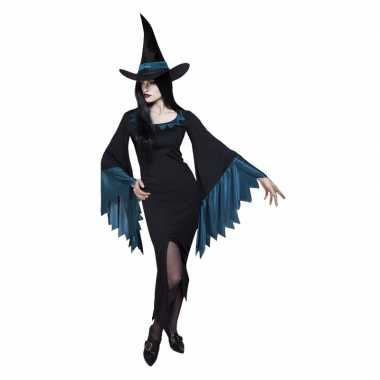 Dames heksen verkleedkleding zwart met blauw