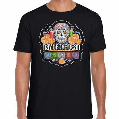 Day of the dead / dag van de doden halloween verkleed t shirt / verkleedkleding zwart voor heren