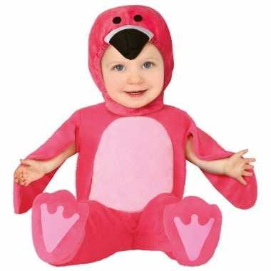 Dierenpak flamingo verkleed verkleedkleding voor baby/peuter 12 24 mn