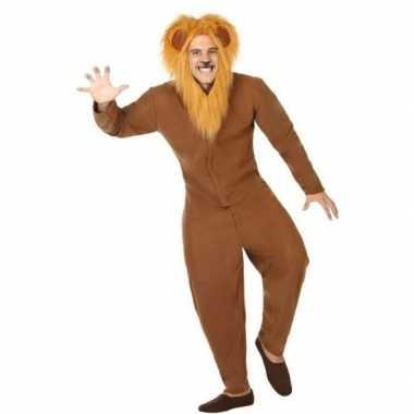 Dierenpak verkleed verkleedkleding bruine leeuw voor volwassenen
