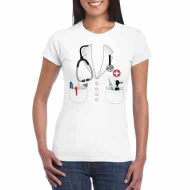 Doktersjas verkleedkleding t shirt wit voor dames