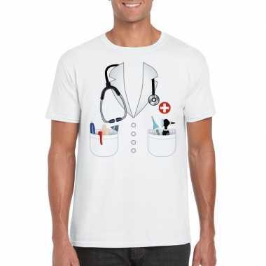 Doktersjas verkleedkleding t shirt wit voor heren