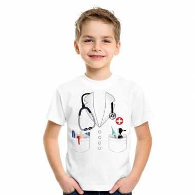 Doktersjas verkleedkleding t shirt wit voor kinderen