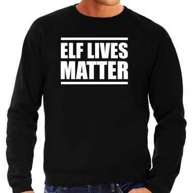 Elf lives matter kerst sweater / kerst verkleedkleding zwart voor heren
