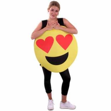 Emoticon verkleedkleding hartjes ogen voor volwassenen