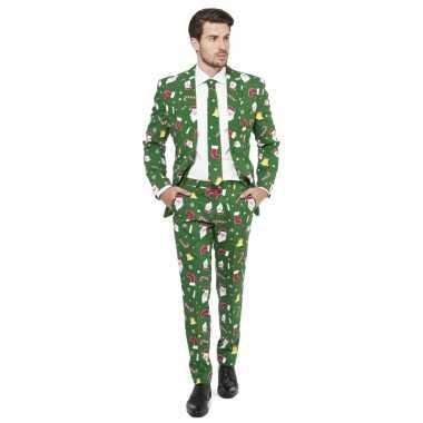 Feest verkleedkleding kerstmis print groen