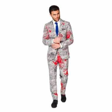 Feest verkleedkleding zombie bloedhanden print