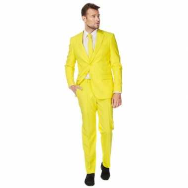 Fel geel verkleedkleding pak voor heren