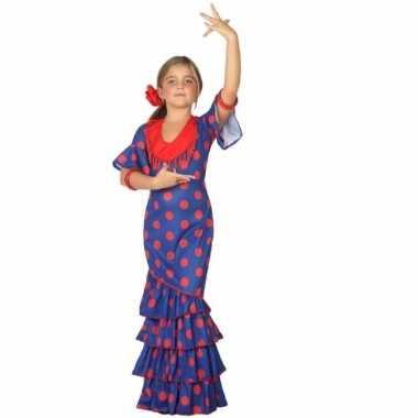 Flamenco danseres verkleedkleding blauw met rood