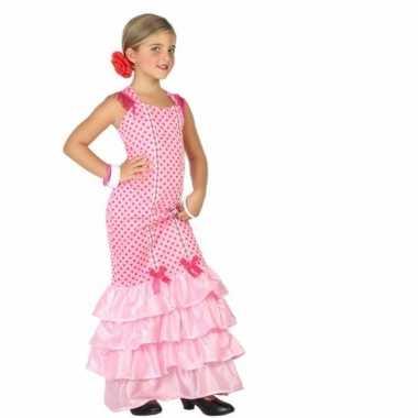 Flamenco danseres verkleedkleding voor kinderen roze