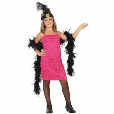 Flapper franje verkleed verkleedkleding/jurkje roze voor meisjes