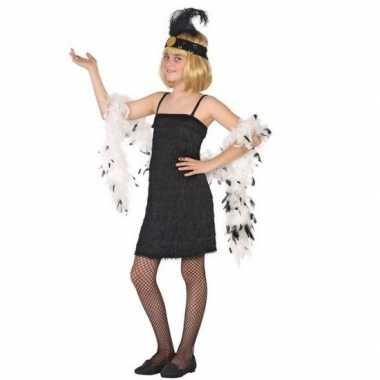 Flapper franje verkleed verkleedkleding/jurkje zwart voor meisjes