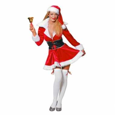 Fluwelen kerstvrouw verkleedkleding