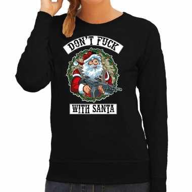 Foute kerstsweater / verkleedkleding dont fuck with santa zwart voor dames