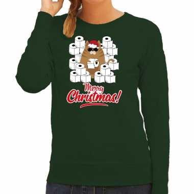 Foute kerstsweater / verkleedkleding met hamsterende kat merry christmas groen voor dames