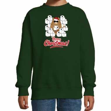 Foute kerstsweater / verkleedkleding met hamsterende kat merry christmas groen voor kinderen