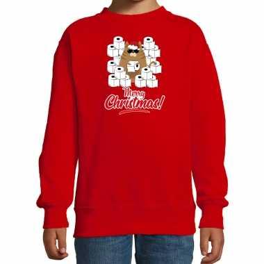 Foute kerstsweater / verkleedkleding met hamsterende kat merry christmas rood voor kinderen