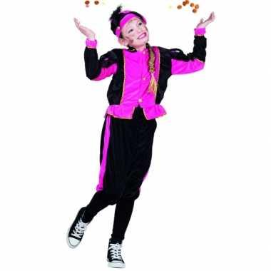 Fuchsia pieten verkleedkleding voor meisjes