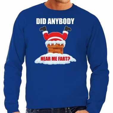 Fun kerstsweater / verkleedkleding did anybody hear my fart blauw voor heren