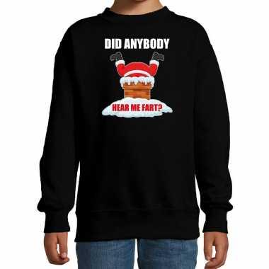 Fun kerstsweater / verkleedkleding did anybody hear my fart zwart voor kinderen