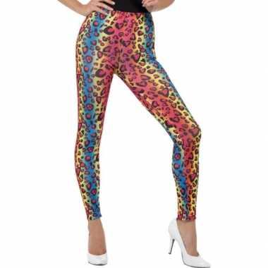 Gekleurde luipaardprint 80s legging verkleed verkleedkleding voor dam