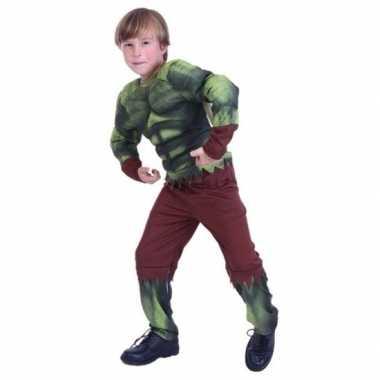 Gespierde groene held verkleedkleding voor jongens
