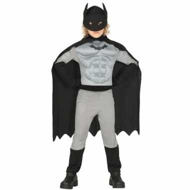 Gespierde vleermuisheld grijs/zwart verkleedverkleedkleding voor jong