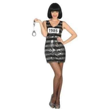 Gevangene/boef ann verkleed verkleedkleding/jurk zwart/zilver voor da